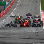 Partenza GP Austria 2018 Bottas, Raikkonen, Hamilton