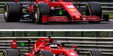 Le differenze tra la monoposto di Leclerc e quella di Vettel